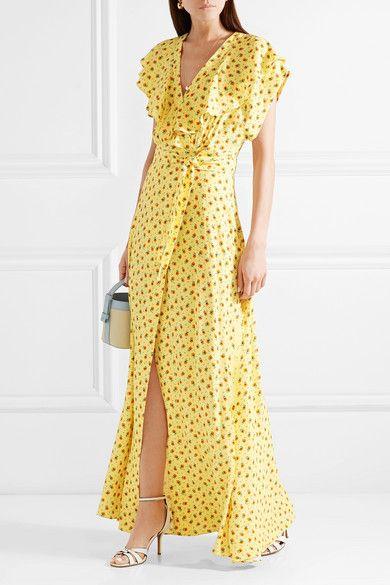 Amalia Ruffled Floral-print Crepe Wrap Maxi Dress - Yellow Paul & Joe j3EZ0