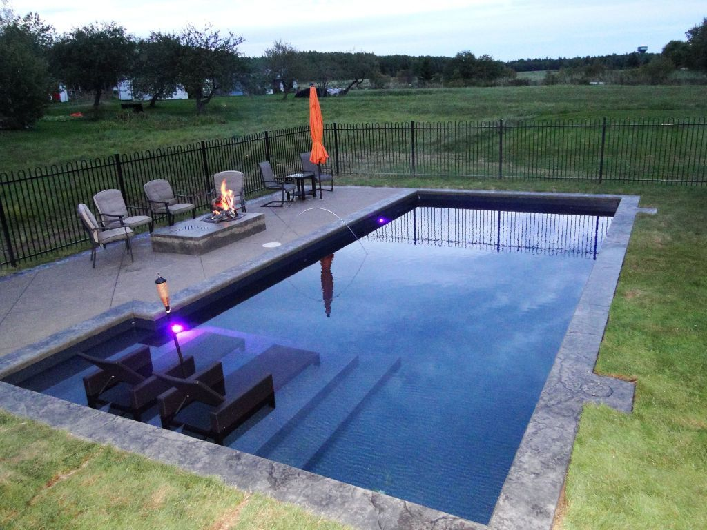 25 Stunning Rectangle Inground Pool Design Ideas With Sun Shelf