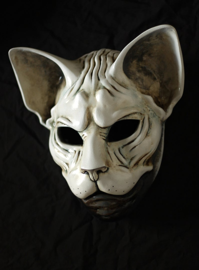 Sphynx Cat Mask Handmade mask Animal Mask Cat