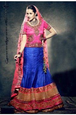 Blue and Pink Art Silk Semistitched Lehenga Choli with Dupatta