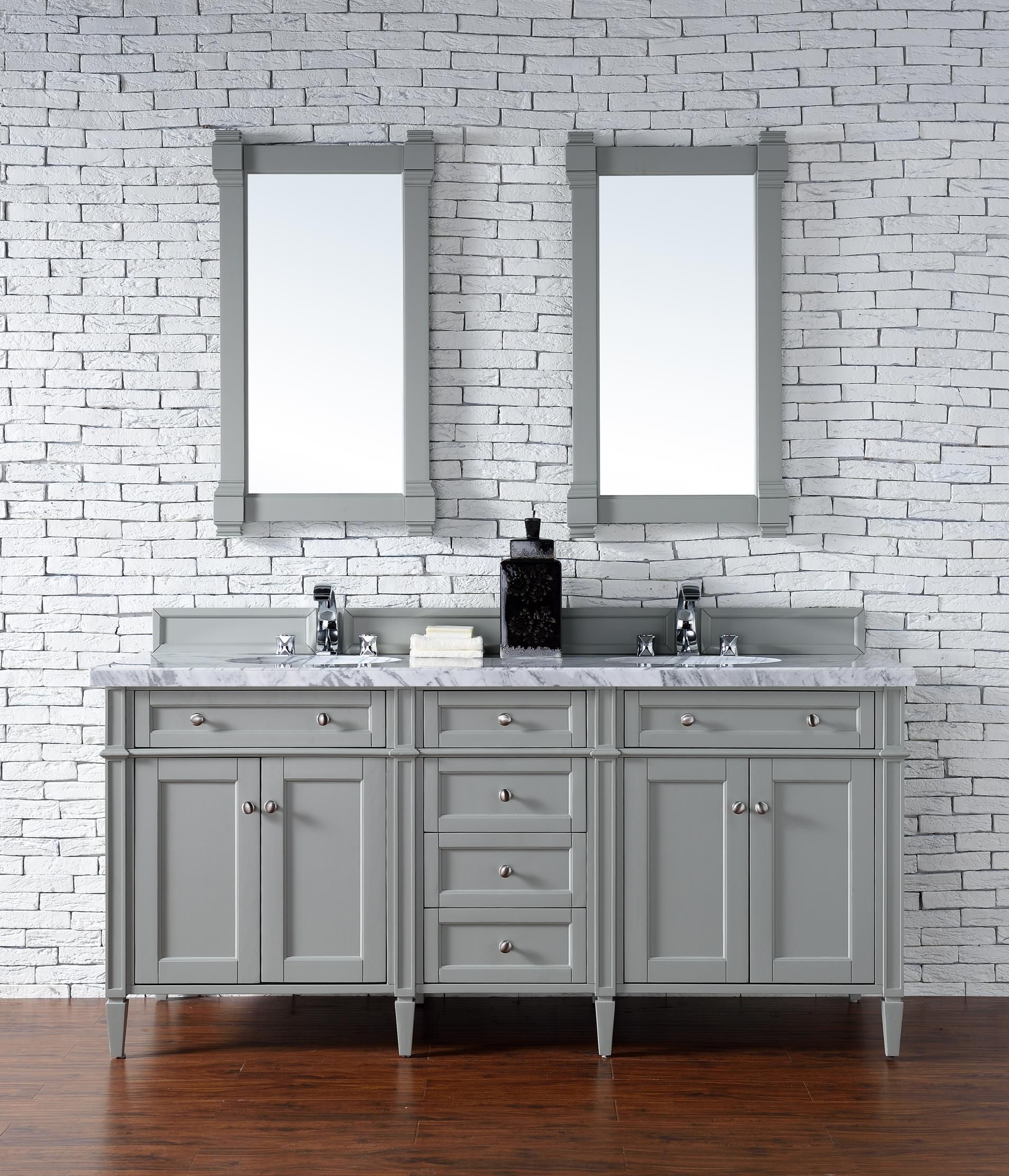 Brittany 72  Double Sink Bathroom Vanity Cabinet - Urban Gray Finish - Carrara White Marble & Brittany 72