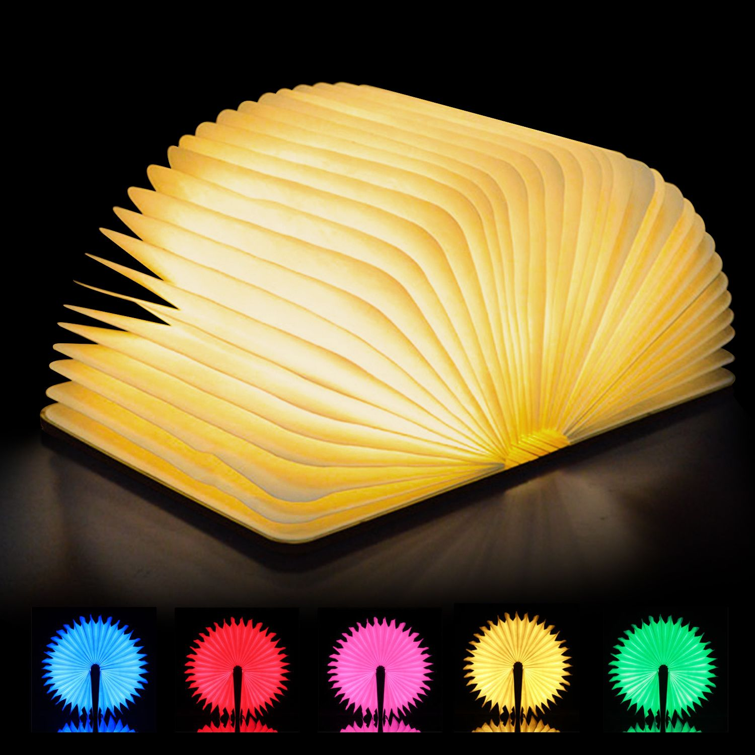 Magicfly Colorful Usb Rechargeable Led Folding Book Light Nightlight Desk Night Lamp Walmart Com In 2020 Book Lamp Book Lights Wooden Lamp