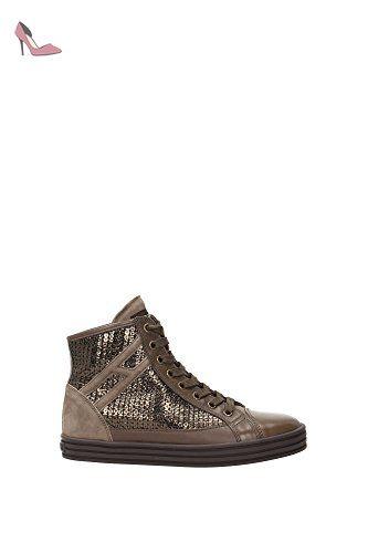 d0c198f8321f8 Sneakers Hogan Femme Cuir Bronze, Olive et Beige HXW1820E2314TS352E Marron  clair 35EU - Chaussures hogan