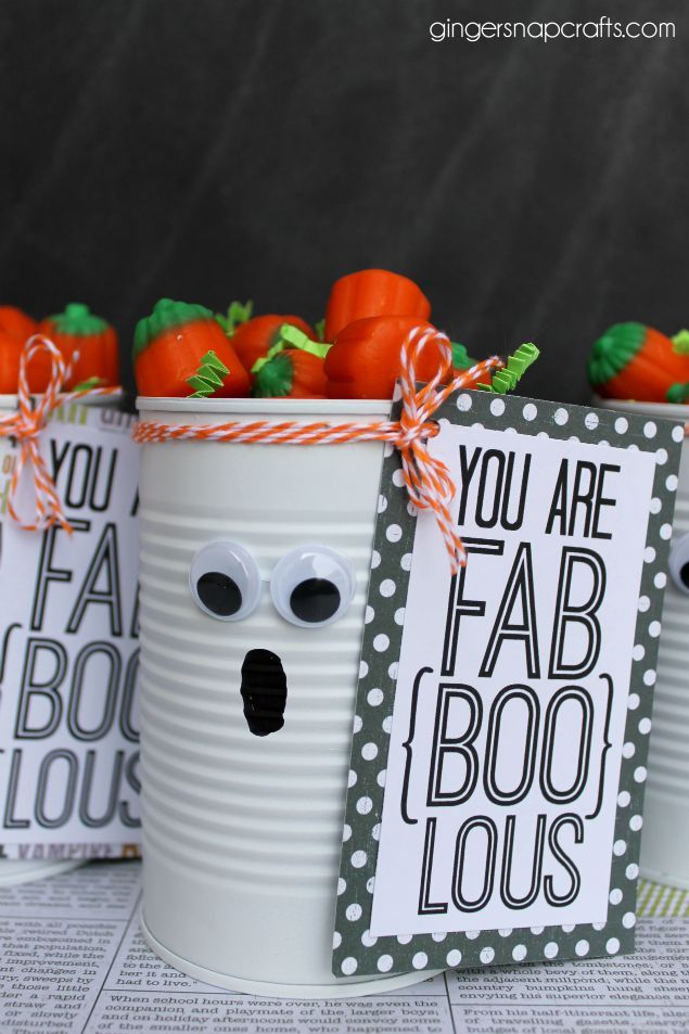 Adorable Tin Can Ghost Halloween Gift is part of Halloween teacher gifts, Halloween printables free, Teachers halloween, Halloween crafts, Halloween freebie, Halloween ghosts - Recycle an old can into an adorable Tin Can Ghost! So easy the kids can help make them and hand them out to their friends and teachers!