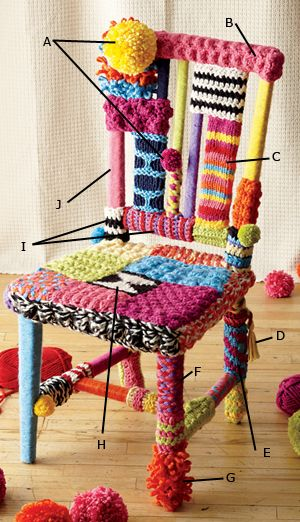 Yarn Bomb a Chair! Looks like a fun project.