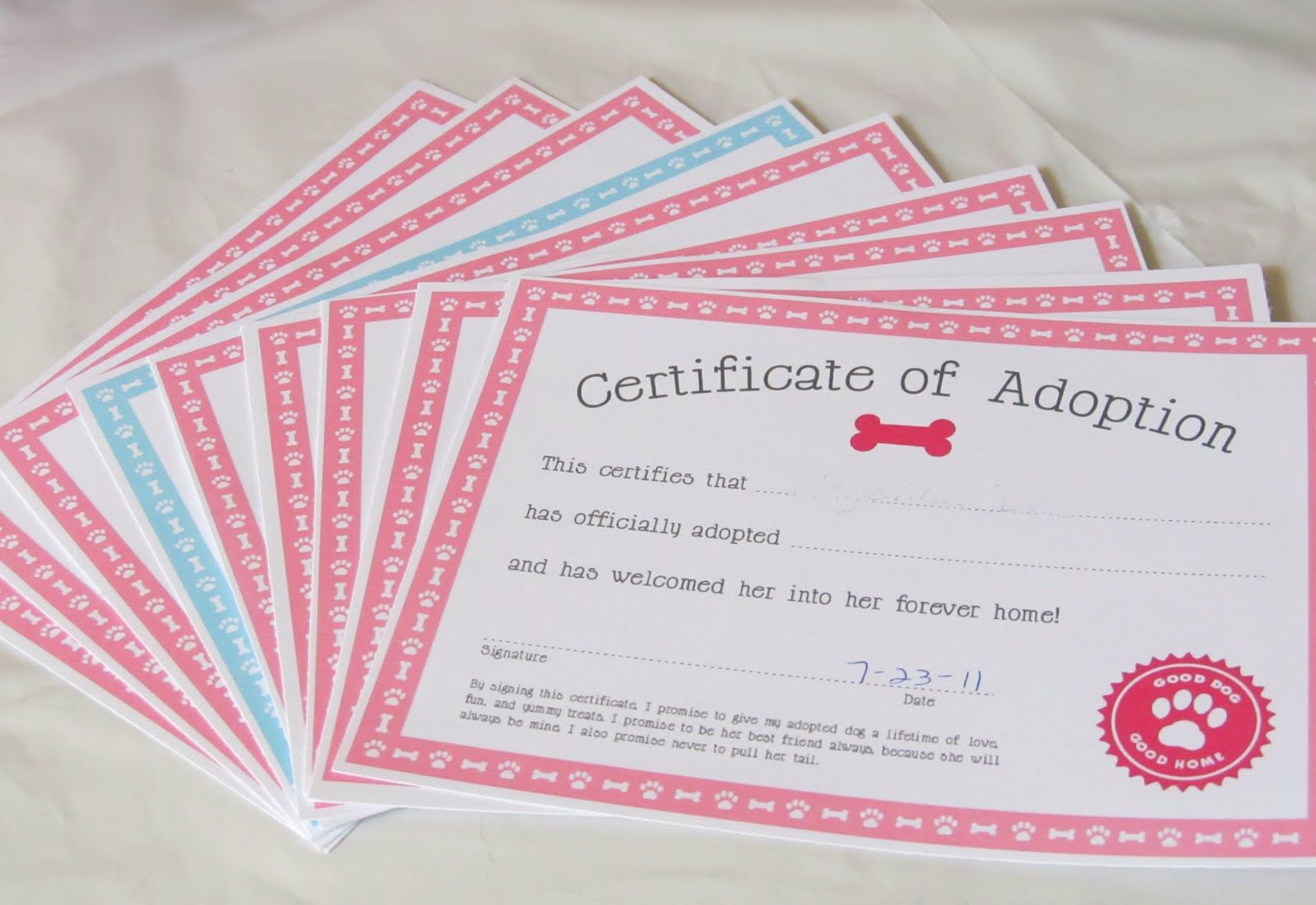 Next up was the puppy adoption each puppy received a bag of doggy adoption certificate for treat bags love sugar kisses puppy party xflitez Gallery