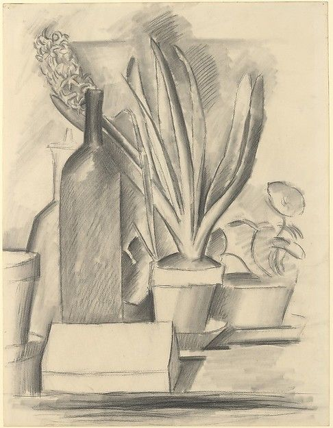 Pablo Picasso, Still Life with Bottle and a Pot of Hyacinths, 1909. Pastel on paper,  24 7/8 x 19 1/8 in. (63.2 x 48.6 cm). Metropolitan Museum of Art, New York.