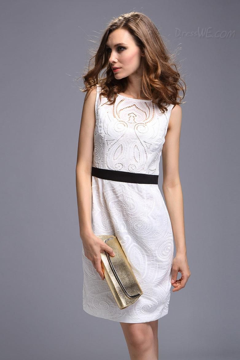 Fine embroidered round collar sleeveless lace little party dress