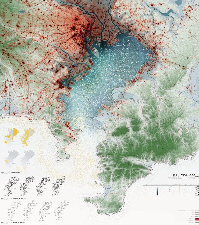 Andrea Hansen, Tokyo Bay Marine Fields,2009 #tokyo #japan #map