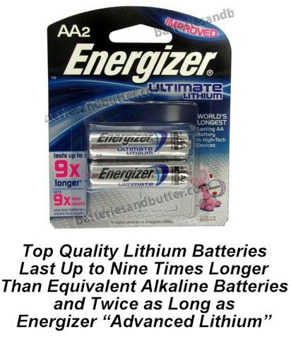 Energizer L91 Aa Ultimate Lithium Battery 2 Pack 4 30 3 80 Wholesale On Www Batteriesandbutter Com Lithium Battery Energizer Blister Card