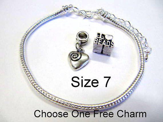 European Charm Bracelets Silver Plated by FeelingstoneGiftsLLC, $4.95