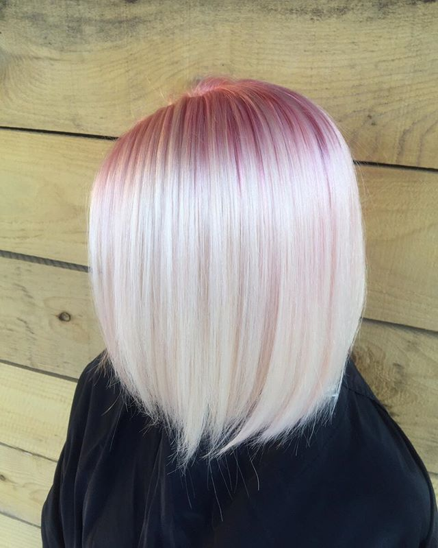 Smoky Pink Roots In Platinum Blonde Blonde Hair With Roots Pink