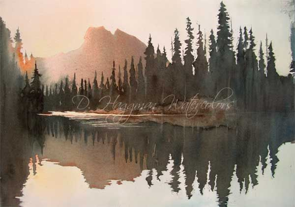 Watercolor Picture Of Mountains Forest With Pine Trees Fir
