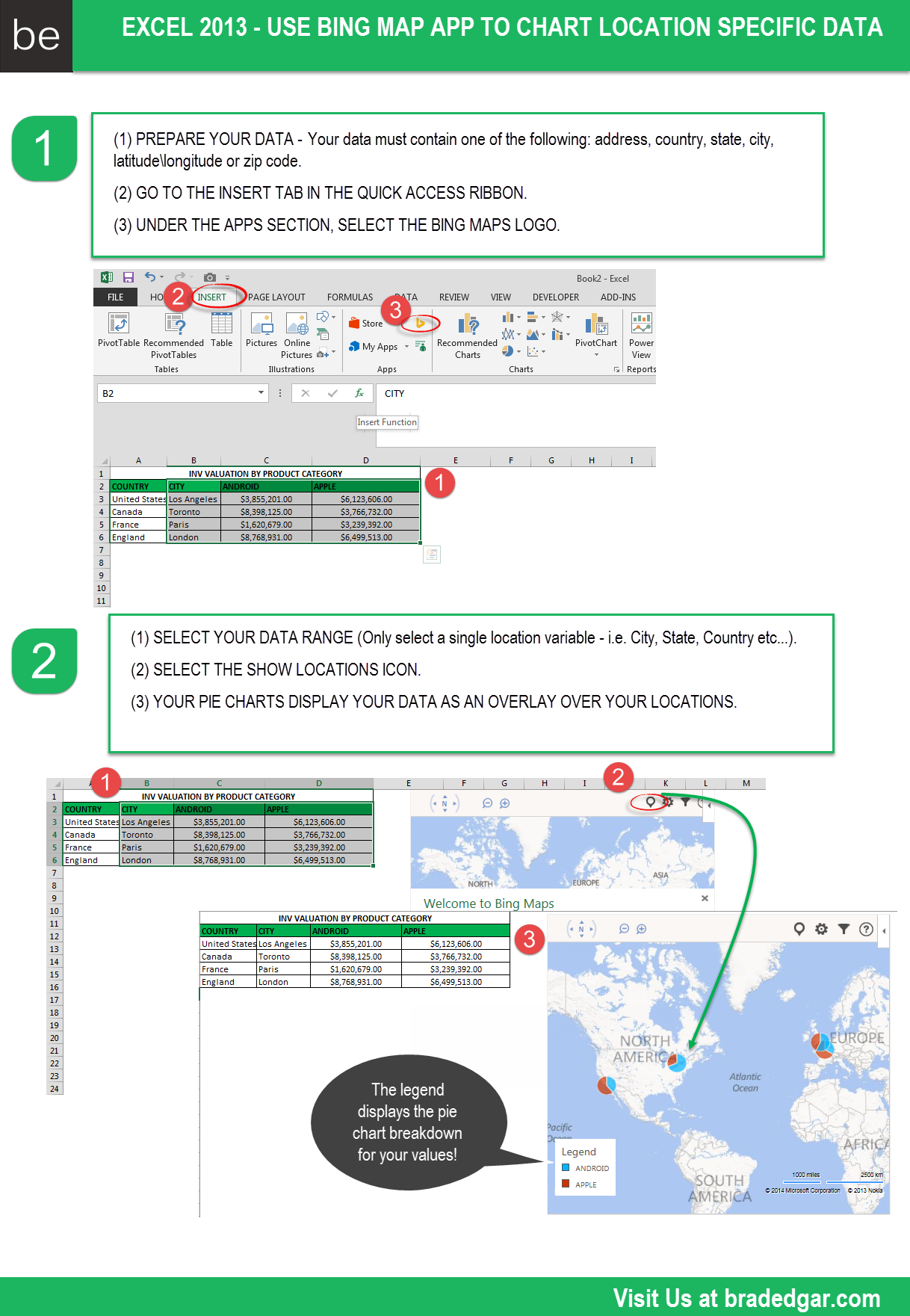 The Excel Bing Map App To Chart Location Specific Data Bing Maps Excel Chart