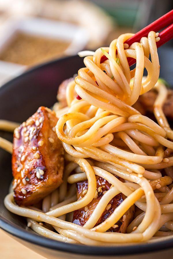 Teriyaki Salmon Noodle Bowls with a Sesame-Ginger Sauce #teriyakisalmon