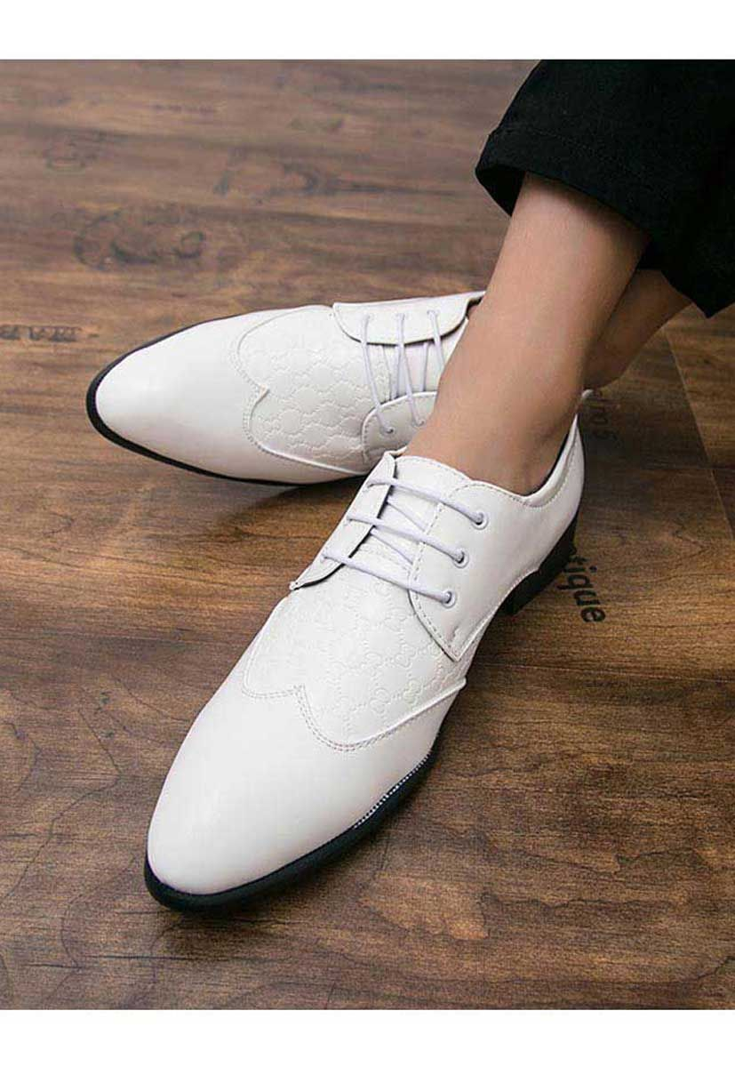 White Shape Pattern Leather Derby Dress Shoe Dress Shoes Dress Shoes Men Derby Dress [ 1200 x 827 Pixel ]
