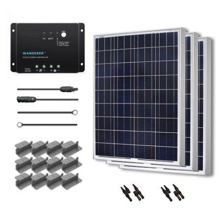 Renogy 300w 12v Solar Panel Polycrystalline Off Grid Starter Kit With Wanderer Charger Controller Off Grid Solar 12v Solar Panel Solar Panels