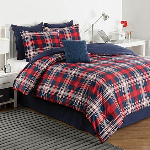 Add A Cozy Touch To Any Bed With The Izod Brisbane Plaid Reversible Comforter Set Decked Out In A Red And N Comforter Sets Plaid Comforter Full Comforter Sets