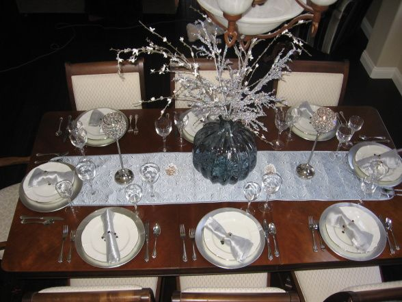 Blue Silver Dining Table Decor Christmas Setting In Ice And