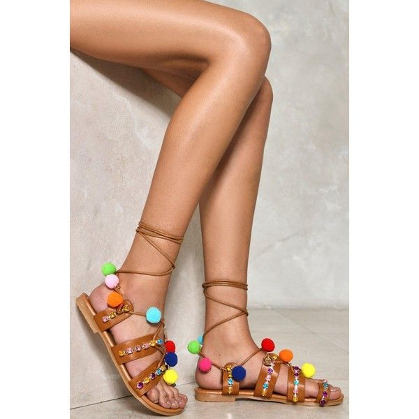 Nasty Gal Fiesta Pom Pom Sandal (600 ZAR) ❤ liked on Polyvore featuring shoes, sandals, tan, tan sandals, lace-up sandals, pom pom sandals, colorful shoes and lace up shoes