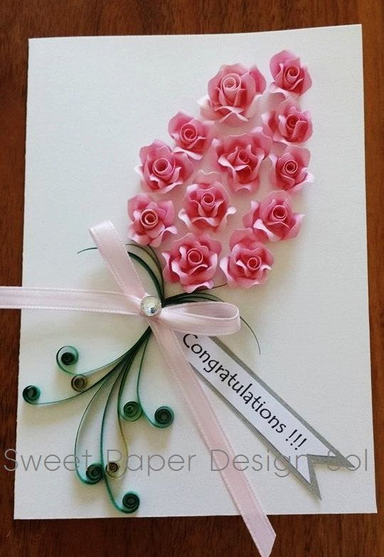 Paper Quilled Beautiful 12 Pink Rose Card For Happy Birthday