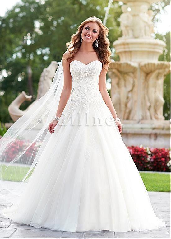 robe de mari e avec d coration dentelle taille de col en c ur en tulle avec perle mariage. Black Bedroom Furniture Sets. Home Design Ideas