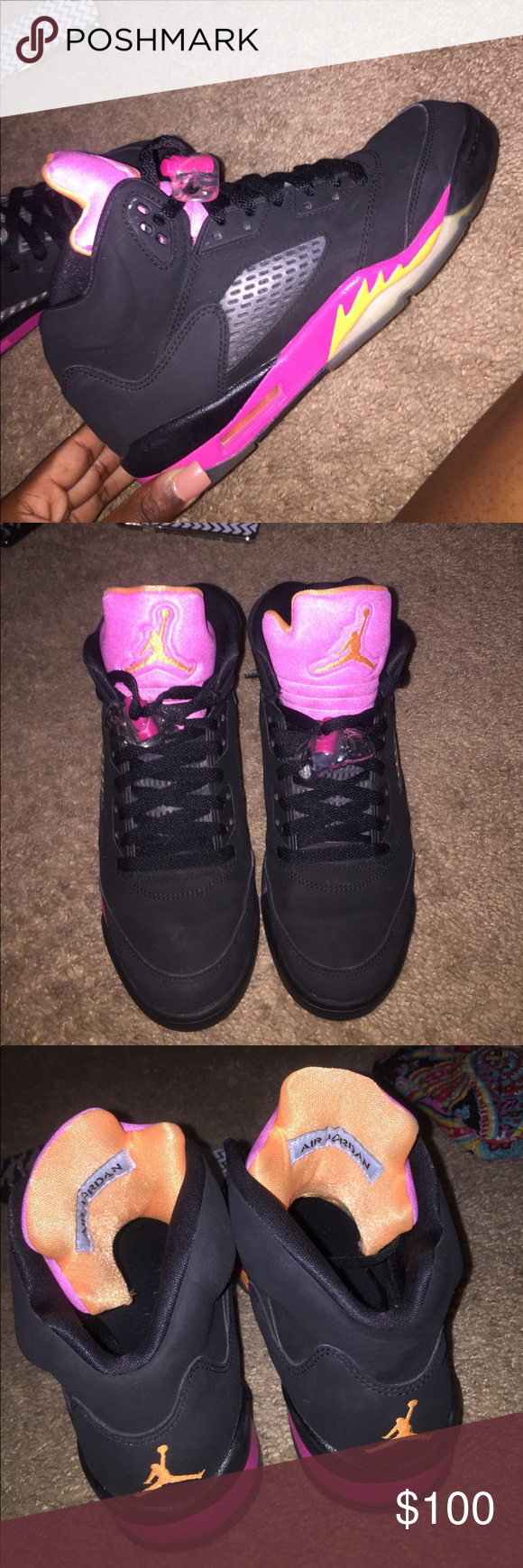 on sale 30805 050a1 jordan retro 5s citrus-pink these are so nice! very good condition and  unique. willing to negotiate price. size us 6.5 but can fit up to 8 9.  unfortunately ...