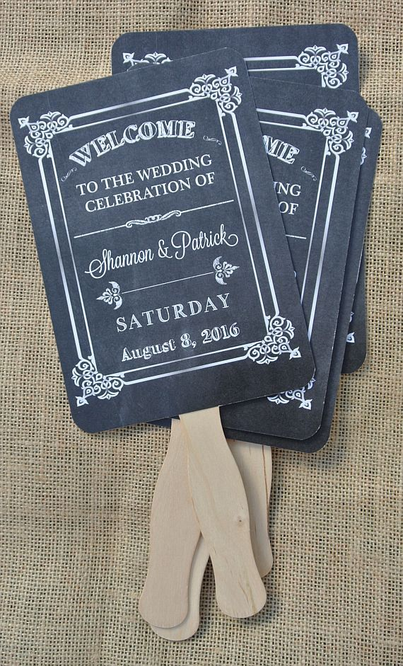 Wedding Fans Favors Rustic Chalkboard Hand By Abbey And Izzie Designs