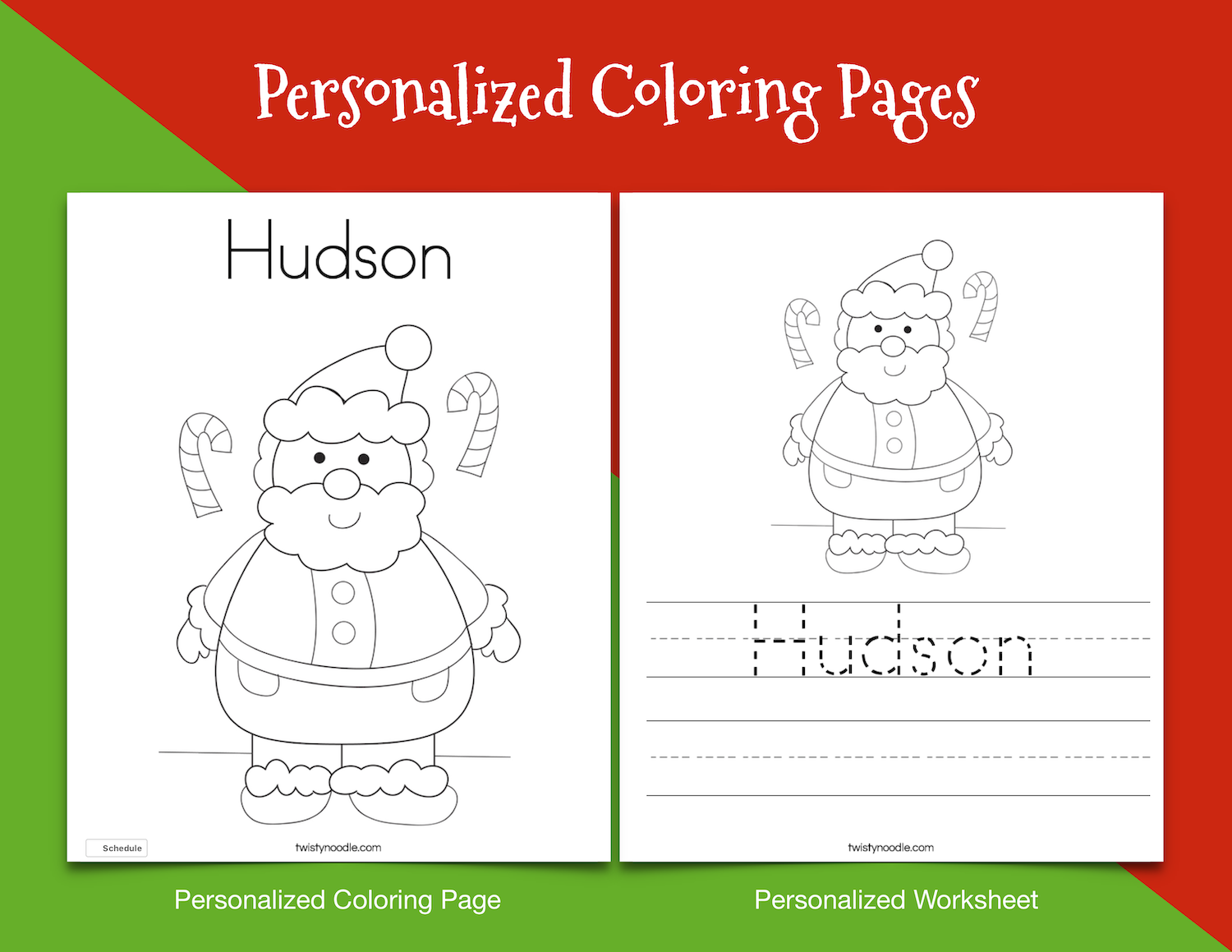 Personalized Christmas Coloring Pages. KidsPartyWorks.Com   Santa ...