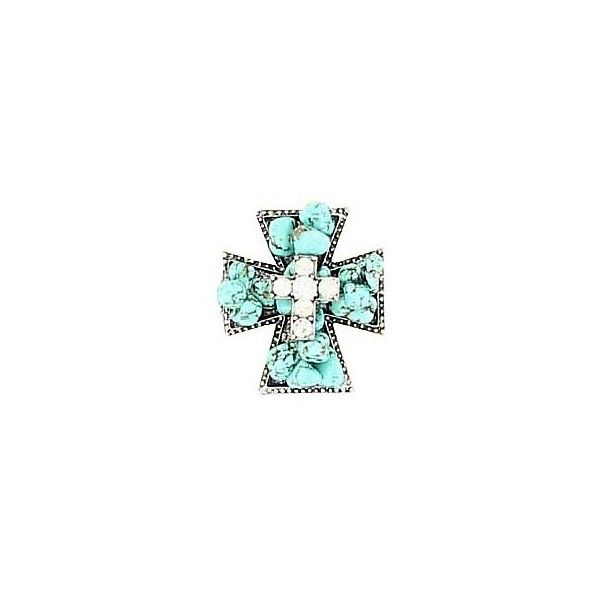 M Western Products Inc Turquoise Crystal Cross Stretch Ring ($10) ❤ liked on Polyvore