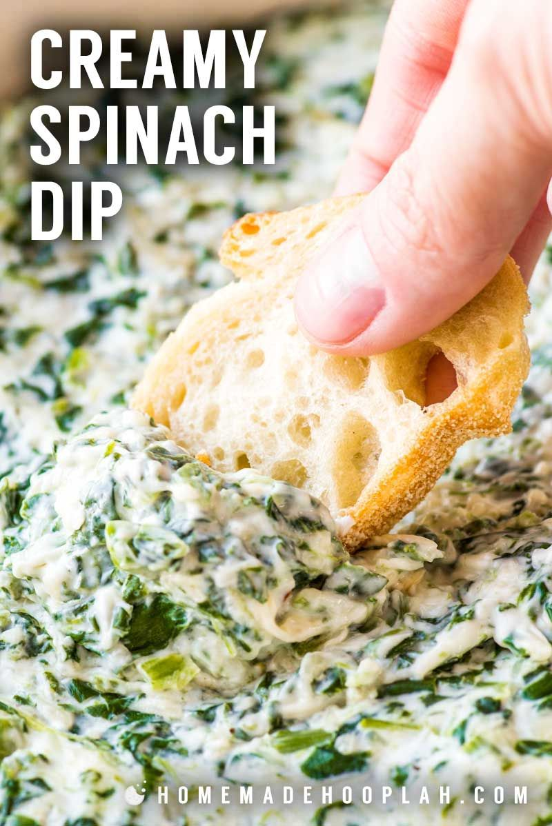 Creamy Spinach Dip This Crowd Pleasing Party Dip Is A Creamy Blend Of Sour Cream Cream Cheese Spinach And Var In 2020 Creamy Spinach Creamy Spinach Dip Spinach Dip
