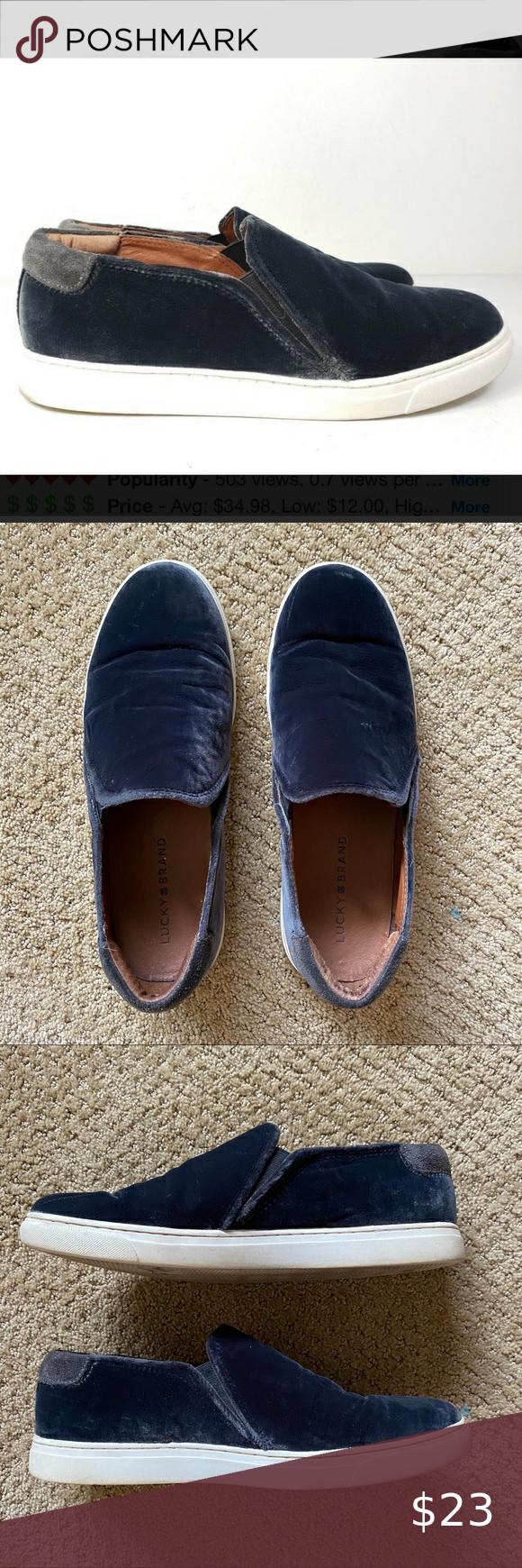 Lucky Brand Navy Blue Velvet Slip Ons