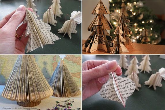 Pinterest Holiday Decorations Diy Book Page Christmas Trees Via Pinterest Book Page Christmas Diy Christmas Decorations Easy Diy Book Diy Holiday Decor