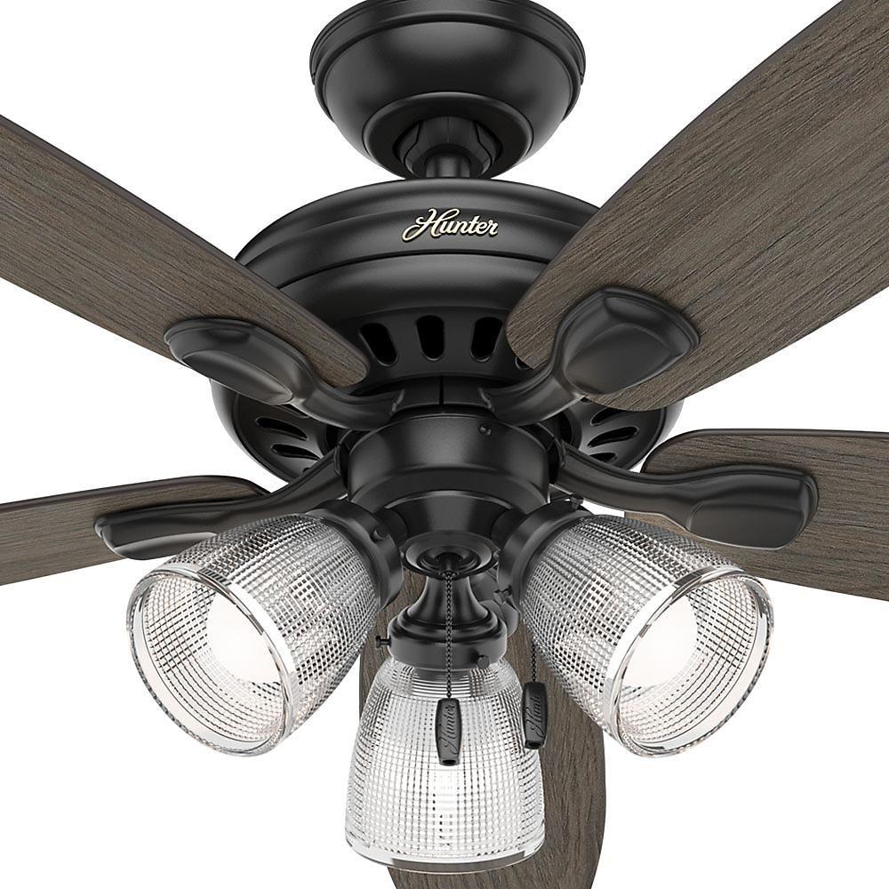 Hunter Highbury Ii 52 In Led Indoor Matte Black Ceiling Fan With Light Kit 52028 The Home Depot Black Ceiling Fan Ceiling Fan With Light Ceiling Fan