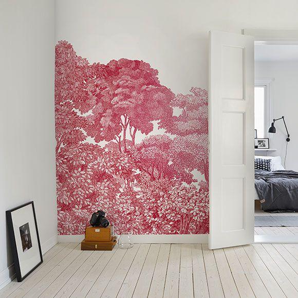 Papier peint forêt, rouge Bellowood