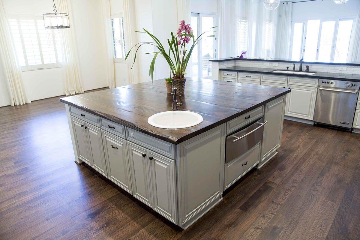 Pbw Maple Island Countertop W Maple Floating Shelves Kitchen
