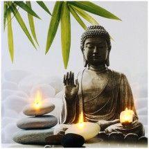 tableau toile cadre led zen statue bouddha bougie galet bambou blanc bouddha pinterest. Black Bedroom Furniture Sets. Home Design Ideas