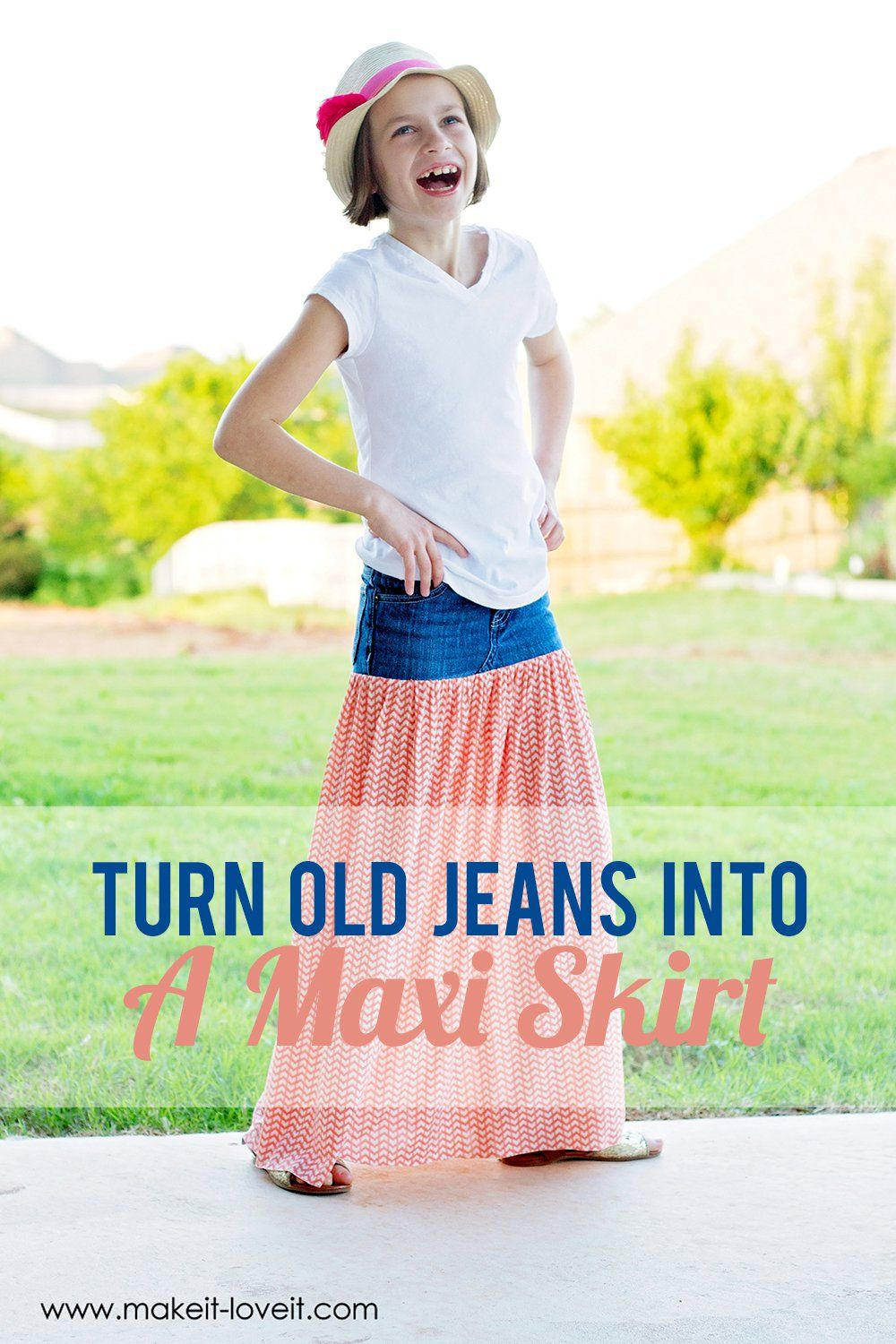 Turn Old Jeans into a Maxi Skirt | Craft time | Old jeans ...