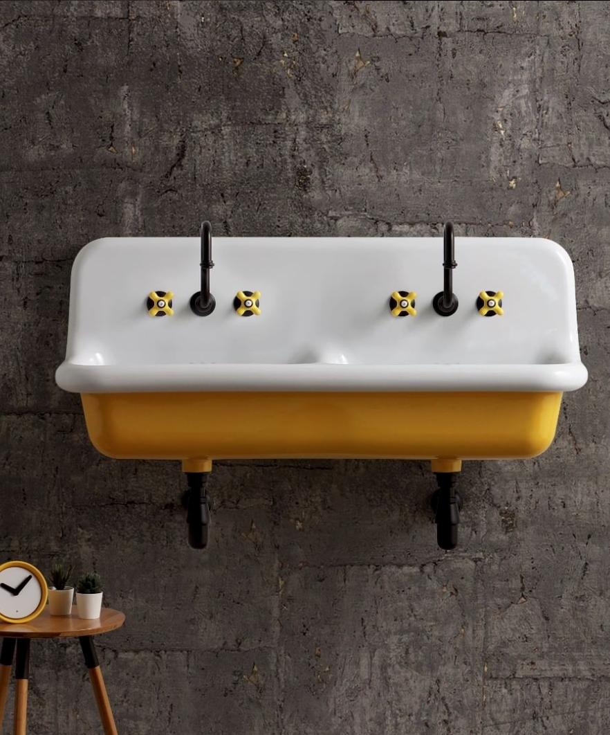 Mobilier de salle de bain retro double vasque jaune Marque de robinetterie salle de bain