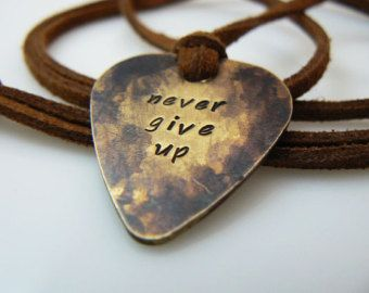 Guitar pick necklace hand stamped plectrum never give up guitar pick necklace hand stamped plectrum never give up silver gold mozeypictures Image collections