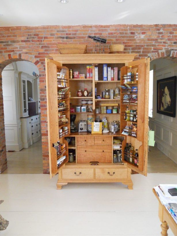 Kitchen Cherry Wood Pantry Cabinet Rustic Pantry Cabinet Tall Pull