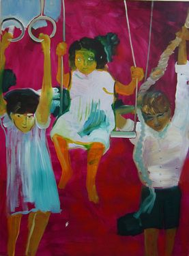 "Saatchi Online Artist Marie-Hélène Fabra; Painting, ""children and swings"" #art"