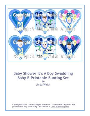 Linda Walsh Originals Dolls and Crafts Blog: New Nursery and Baby Shower Bunting or Garland Decoration - It's A Swaddling Boy