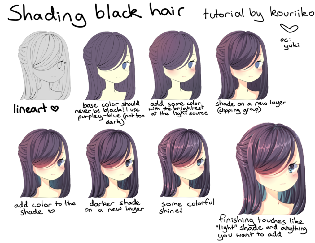 Shading Black Hair By Kouriiko Manga Hair Digital Art Tutorial Drawing Hair Tutorial
