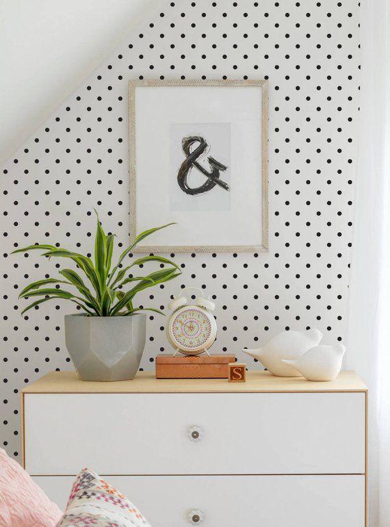 Small Polka Dots Peel & Stick Fabric Wallpaper