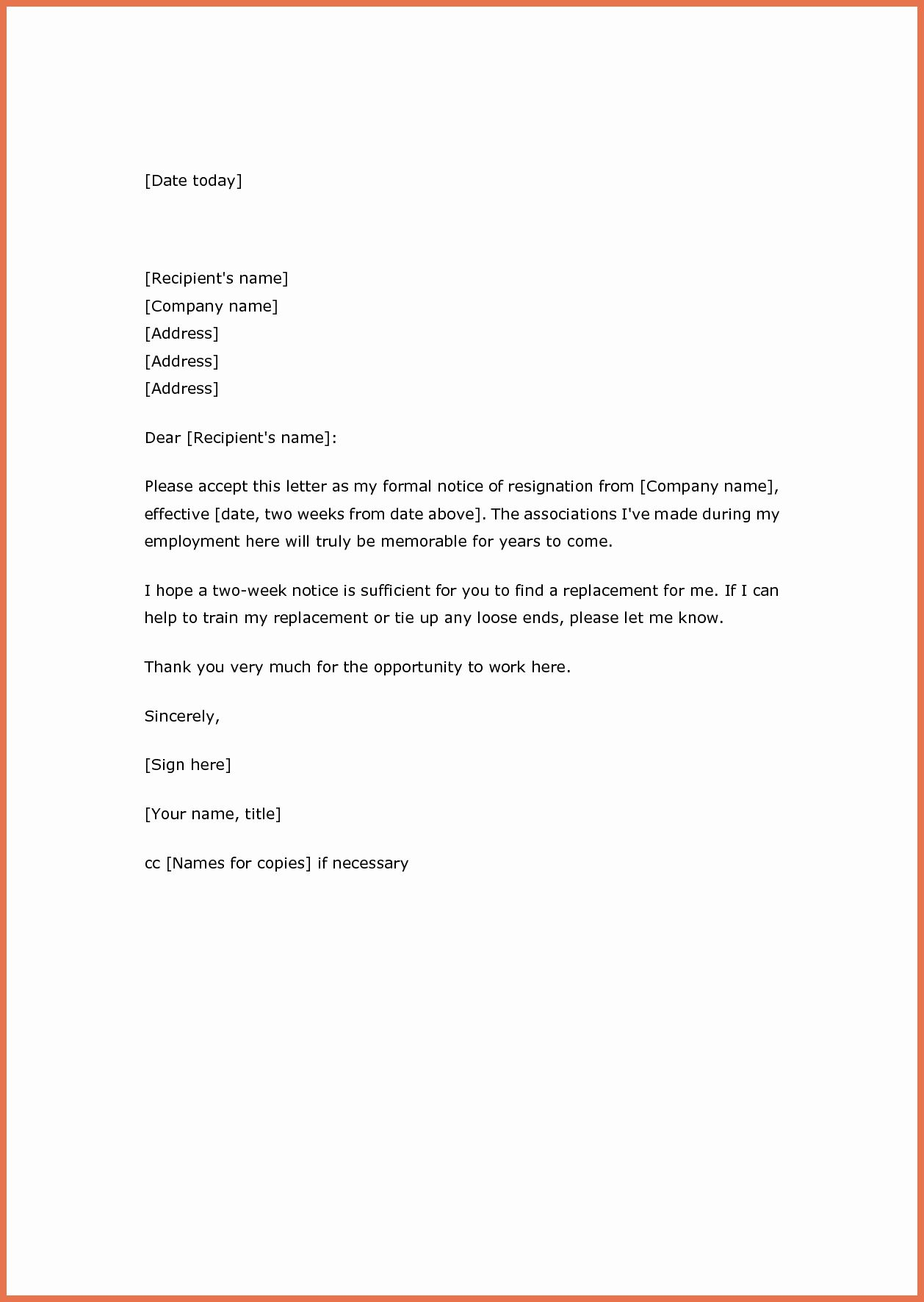 Explore Our Example Of Two Weeks Resignation Letter Template For Free Resignation Letter Resignation Letter Format Resignation Letters
