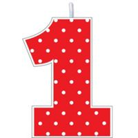 Red Polka Dot Number 1 Birthday Candle 2in X 2