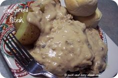 Smothered Steak Recipe, My favorite! I use this with every kind of meat and add veggies to the crockpot.  YUMMY!! Thank you Tiff and Tara!