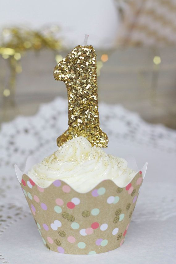 Gold Glitter Number 1 Birthday Candle First By JamboreePartyBox
