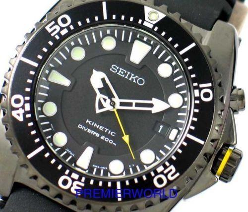 Seiko Kinetic Divers 200m Black Gun Metal Ska427 Watch Ska427p2